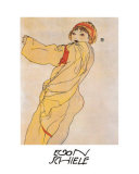 Standing Woman with Yellow Dress Print by Egon Schiele