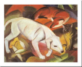 A Dog, a Fox and a Cat Posters by Franz Marc