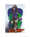 Sitting Woman with Green Scarf Stampe di Pablo Picasso