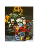 Flowers in a Vase Print by Pierre-Auguste Renoir