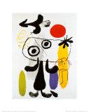 Figur Gegen Rote Sonne II, ca. 1950 Kunstdruck von Joan Miró