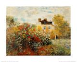 De tuin van de kunstenaar in Argenteuil Print van Claude Monet