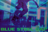 Skateboarder in Blau Poster von Robert Downs