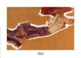 Liegender Halbakt Mit Poster by Egon Schiele