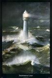 Faro con mar bravo Póster por Steve Bloom