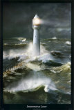 Lighthouse and Stormy Sea Poster by Steve Bloom