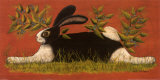 Lapin sur fond rouge Posters par Lisa Hilliker