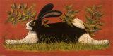 Kaninchen auf rotem Hintergrund Poster von Lisa Hilliker