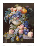 Grapes, Peaches and Plums Art by Pierre-Joseph Redout&#233;