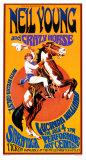 Neil Young et le Crazy Horse en concert, lithographie Affiches par Bob Masse