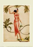 Mujer con vestido rojo Reproducción por Gill
