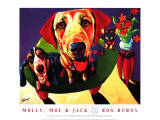 Molly, Moe and Jack Print by Ron Burns