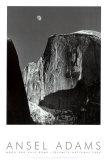 Maan en Half Dome, Yosemite National Park, 1960 Kunst van Ansel Adams