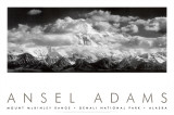 Mont McKinley, nuages, parc national de Denali, Alaska, 1948 Posters par Ansel Adams