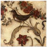 Crimson Songbird II Prints by Laurel Lehman