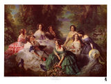 Portrait of Empress Eugenie Surrounded by Her Maids of Honor, 1855 Prints by Franz Xavier Winterhalter