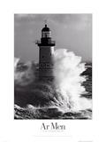 Faro batido por las olas Póster