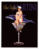 Blue Dolphin Martini Prints by Ralph Burch