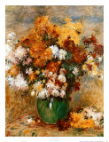 Vase of Chrysanthemums Print by Pierre-Auguste Renoir