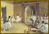 Dance Foyer at the Opera - Gold Trim Mounted Print by Edgar Degas
