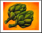 Two Artichokes Mounted Print by Will Rafuse