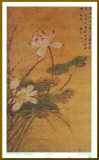 Fleurs de lotus sur fond dor&#233; Affiche mont&#233;e par Mei Feng