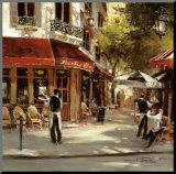 Bistro Waiters Mounted Print by Brent Heighton