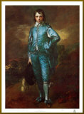 The Blue Boy - Gold Trim Montert trykk av Gainsborough, Thomas
