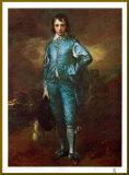 The Blue Boy - Gold Trim Kunst op hout van Gainsborough, Thomas