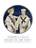 America Calls, Enlist in the Navy Giclee Print by Joseph Christian Leyendecker