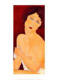 Nudo seduto su un divano Stampe di Amedeo Modigliani