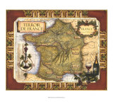 Wine Map of France Giclee Print