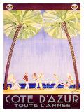 Lazurowe wybrzeże przez cały rok - Reklama, francuski Wydruk giclee autor Jean-Gabriel Domergue
