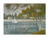 Banks of Seine Art by Georges Seurat