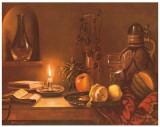 Stilleben mit Kerze Print by F. Wanner
