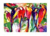 Papageienfamilie Kunstdrucke von Alfred Gockel