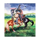 Robert Bruce About to Kill Sir Henry De Bohum Giclee Print by Ron Embleton
