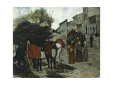 Arrival of Drays, 1881 Giclee Print by Giovanni Fattori