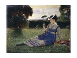 Alaide in Garden, 1867 Giclee Print by Cristiano Banti