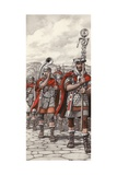 Roman Legions Marching Behind their Standard Giclee Print by Pat Nicolle