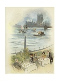 Lunch on Terrace Overlooking the Thames Giclee Print by Dudley Hardy