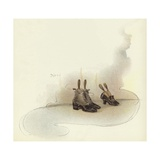Shoes Outside Bedroom Door at Claridge's Hotel Giclee Print by Dudley Hardy