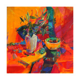 Lilies on a Red Ground, 2012 Giclee Print by Peter Graham