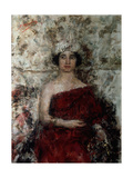 Lady in Red with a Turban Giclee Print by Antonio Mancini