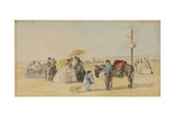 On the Beach, 1866 Giclee Print by Eugene Louis Boudin