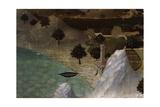 Castle on Lake Shore Giclee Print by Ambrogio Lorenzetti