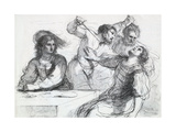 "Detail of ""Quarrel over a Franc"", 1764 Giclee Print by Francesco Bartolozzi"