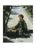 Little Flower Girl, 1862 Giclee Print by Filippo Carcano