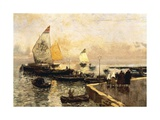 Coal Boats in Chioggia Giclee Print by Mose Bianchi