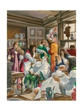 A Busy Barber-Surgeon's Shop Giclee Print by Peter Jackson